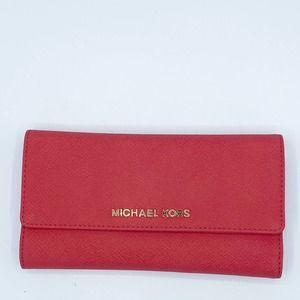 MICHAEL KORS Jet Set Saffiano Tri Fold Wallet